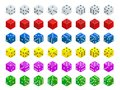 Set Of Isometric Dice Combination. White, Red, Yellow, Green, Blue And Purple Poker Cubes Vector Isolated. Royalty Free Stock Photography - 105820857
