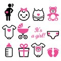 Baby Girl Shower  Icons Set, Pregnant Womant With Girl, Newborn Baby Design Stock Photography - 105856662