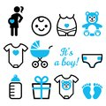 Baby Girl Shower  Icons Set, Pregnant Womant With Girl, Newborn Baby Design Stock Photos - 105857343