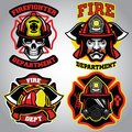 Firefighter Badge Set Royalty Free Stock Photos - 105863598