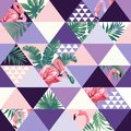 Exotic Beach Trendy Seamless Pattern, Patchwork Illustrated Floral  Tropical Banana Leaves. Royalty Free Stock Image - 105863606