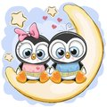Two Penguins Is Sitting On The Moon Royalty Free Stock Image - 105864016