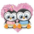 Two Cartoon Penguins On A Background Of Heart Royalty Free Stock Photo - 105864225