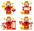 Chinese God Of Wealth. Chinese New Year 2018 Greeting Card. Set Stock Photo - 105898840