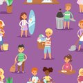 Kids Vector Cleaning Rooms And Helping Their Mums Housework Cartoon Characters Clean Up Illustration Colorful Set Stock Images - 105957164