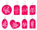 Collection Of Hand Drawn Cute Gift Tags With The Inscription I Love You. Valentines Day, Marriage, Wedding, Birthday Royalty Free Stock Photos - 105990838
