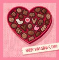 Heart Shaped Valentines Day Candy Box With Chocolates Royalty Free Stock Photo - 106013235