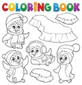 Coloring Book Happy Winter Penguins Royalty Free Stock Photo - 106019835