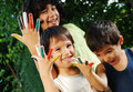 Several Colors On Children Fingers Outdoor Stock Photography - 10629082
