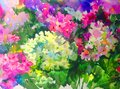 Watercolor Art Background Red Pink Flower Lilac Bouquet Colorful Textured Wet Wash Blurred Royalty Free Stock Image - 106257106