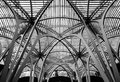 Detailed View Of A Vast, Metal Structure And Roof Seen Covering Old Buildings Royalty Free Stock Images - 106258789
