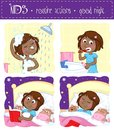 Adorable Little Black Girl And Her Good Night Routine - Showering, Tooth Brushing, Reading Bedtime Story, Sleeping Stock Photo - 106316450