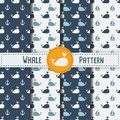 Whales Seamless Pattern On Blue Background  Illustration. Stock Photo - 106320640