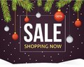Christmas Sale Banner Template With Glitter Balls Ribbons And Decoration. New Year Tree Branches Background. Stock Photo - 106364640