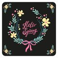 Cute Rustic Hand Drawn Easter Wreath Of Spring Flowers With Hand Written Text Hello Spring Royalty Free Stock Image - 106373116