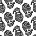 Seamless Pattern With Bad Santa In Glasses With Typography Happy New Year 2018 On Hat And Beard. Vector Illustration In Stock Photo - 106379500
