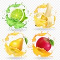 Banana, Apple, Lime, Pear Juice Realistic Fruits Splashes, Vector Icon Set Stock Image - 106397301
