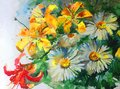 Watercolor Art Background Colorful Nature Summer Yellow Red White Flower Chamomile Lilyes Bouquet Blossom Branch Spring Garden Stock Images - 106431924