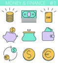 Money And Finance Line Symbols. Vector Thin Outline Icon Set. Royalty Free Stock Photos - 106494198