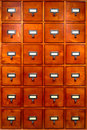 Library File Cabinet With Old Wood Card Drawers Stock Photography - 10652122