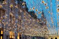 Moscow, Russia - December 23, 2017. Nikolskaya Street In New Year And Christmas Evening Light Decoration Stock Image - 106508841