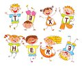 Cute Happy Kids. In Style Of Children`s Drawings. Space For Text Stock Photo - 106510100