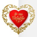 Happy Valentines Day Vector Card. Big Red Heart With Floral Ornaments And Elegant Handwritten Text Be My Valentine Royalty Free Stock Photo - 106550045