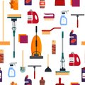 Cleaning Service Seamless Pattern, House Cleaning Tools On White Background. Detergent And Disinfectant Products Stock Images - 106578814