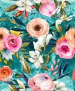Oil Painted Seamless Floral Pattern Royalty Free Stock Image - 106598616