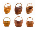 Collage Of Wicker Woven Basket Over White Stock Image - 10665481