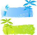Two Grungy Palms Banners Royalty Free Stock Images - 10667029