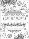Winter Holidays Coloring Page With Decorated Ornament Royalty Free Stock Photos - 106625448
