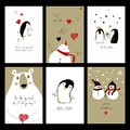 Set Of Love Cards With Animals. Royalty Free Stock Photos - 106637568