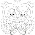 Valentine Day Black And White Poster With An Owl Couple. Royalty Free Stock Photos - 106647758