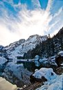 Snowy Mountain Lake With Mountains And Blue Sky Royalty Free Stock Photo - 106660325
