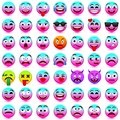 Face Emotions. Facial Expression. Vector Illustration.Pink And Blue Smileys 2018. Stock Photo - 106674790