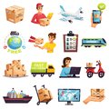 Worldwide Shipment Delivery Icons Set Royalty Free Stock Images - 106715679