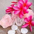 Pink Frangipani With Rose And Clear Quartz And Selenite Healing Stock Images - 106753144