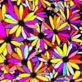 Colorful Floral Pattern With Daisy Flower Background, Vector Stock Images - 106889664