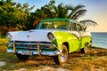 Green And White Ford Fairlane Parked On Beach Royalty Free Stock Image - 106977026