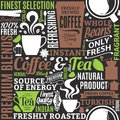 Typographic Vector Coffee And Tea Seamless Pattern Or Background Stock Photos - 107015603