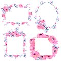 Watercolor Pink Poppies And Floral Branches Frame Borders Collection On A White Background Royalty Free Stock Image - 107027386