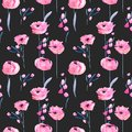 Watercolor Pink Poppies And Floral Branches Seamless Pattern Royalty Free Stock Photos - 107027508