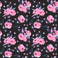 Watercolor Pink Poppies Bouquets Seamless Pattern Royalty Free Stock Image - 107027626