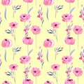 Watercolor Pink Poppies And Floral Branches Seamless Pattern Stock Photography - 107027772