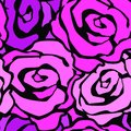 Rose Flowers Seamless Hand Craft Expressive Ink Pattern. Royalty Free Stock Images - 107072219