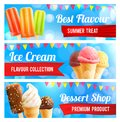 Ice Cream Chocolate And Vanilla Dessert 3d Banner Royalty Free Stock Images - 107076779