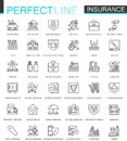 Insurance Thin Line Web Icons Set. Car, House, Health, Life Insurance Outline Stroke Icons Design. Royalty Free Stock Photography - 107081327