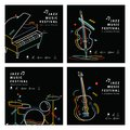 Jazz Music Banner Poster Square 4 Musical Instrument  Stock Image - 107085991