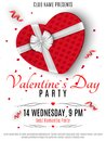 Valentines Day Party Flyer. Red Box From The Heart And A White Ribbon With A Bow. Romantic Composition On A White Background. Conf Stock Image - 107113281
